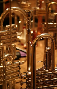 A collection of brass instruments