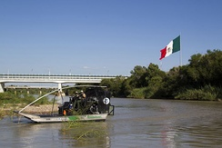 Patrolling the Rio Grande in an airboat at Laredo, Texas, 2013.