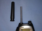 Rubber Ducky antenna on UHF 446 MHz walkie talkie with rubber cover removed.