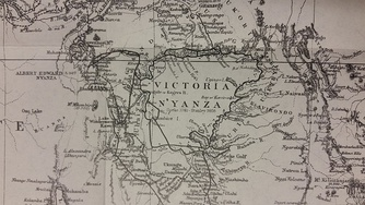 Victoria Nyanza. The black line indicates Stanley's route.