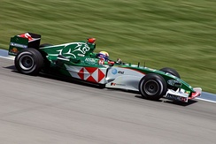 The Jaguar R5 being driven by Mark Webber in 2004 – the team's last season in F1.