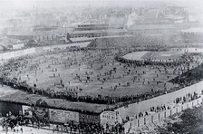 1903 World Series – Huntington Avenue Grounds in the foreground, the third South End Grounds in the hazy background to the upper right