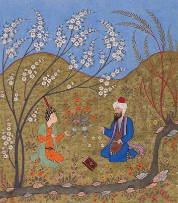 A Persian miniature depicting the medieval saint and mystic Ahmad Ghazali (d. 1123), brother of the famous Abu Hamid al-Ghazali (d. 1111), talking to a disciple, from the Meetings of the Lovers (1552)