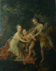 Children of the Duke of Orléans (c.1755); Bathilde holds an angel with her brother, the Duke of Chartres, is on the far right, François-Hubert Drouais.