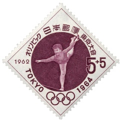 Gymnastics at the 1964 Olympics on a stamp of Japan