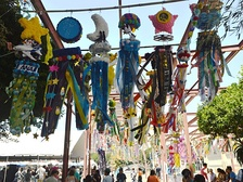 Kazari streamers hung during the Tanabata festival in Los Angeles' Little Tokyo