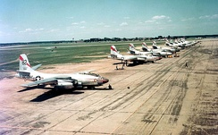 Flightline photo of B-45A-5-NA Tornadoes of the 47th Light Bomb Wing, Langley Air Force Base, Va., before transatlantic flight to Sculthorpe, England, in July 1952.