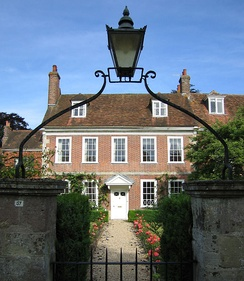 Middle-class house in Salisbury cathedral close, England, with minimal classical detail.