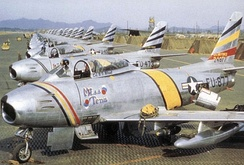 North American F-86F-30-NA Sabres of the 8th Fighter-Bomber Group, Korea, 1953. Serial 52-4877 in front in Wing Commander's colors, 52-4473 alongside.