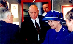Queen Elizabeth II with Anthony J. Moses during her visit in Cardiff University in 2000