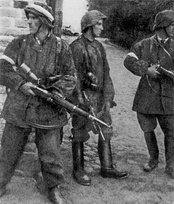 Polish resistance soldiers during 1944 Warsaw Uprising.