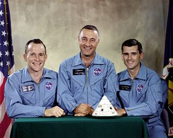 Apollo 1 crew: Ed White, command pilot Gus Grissom, and Roger Chaffee