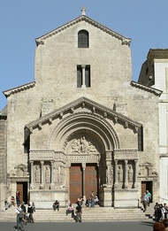 Church of St. Trophime, Arles, France. The ornamentation is focused on the porch and the carved Christ in Majesty on the tympanum, typical of French cathedrals.