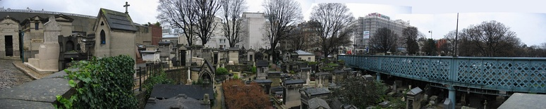 The Montmartre Cemetery with the Rue Caulaincourt viaduct passing through it