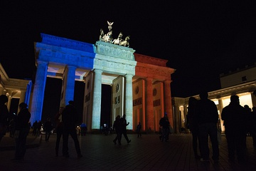 Brandenburg gate lit up to look like the French Flag after the November 2015 Paris attacks