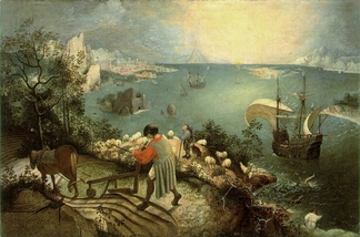 Landscape with the Fall of Icarus, Royal Museums of Fine Arts of Belgium, now seen as a good early copy of Bruegel's original