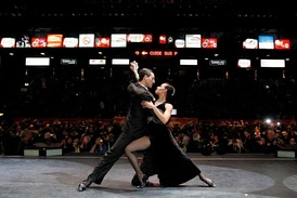 Tango dancers during the World tango dance tournament.