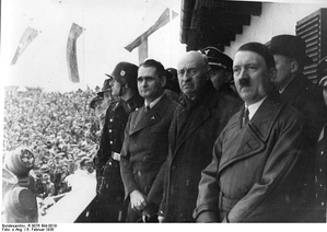 Opening Ceremony with  Rudolf Hess, president of IOC count Henri de Baillet-Latour, and Adolf Hitler
