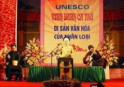 Performance of ca trù, an ancient genre of chamber music from northern Vietnam, inscribed by UNESCO as an Intangible Cultural Heritage in 2009