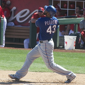 Peguero batting for the Texas Rangers in 2015 spring training