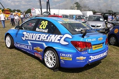 MacDowall's Chevrolet Cruze from the 2011 British Touring Car Championship.