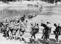 A Chindit column crossing a river in Burma during 1943
