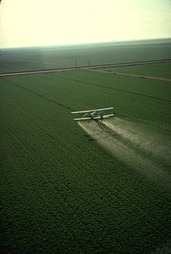 A crop-duster spraying pesticide on a field