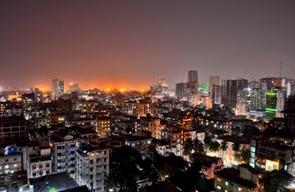 View of downtown Dhaka, the largest city in Bangladesh and one of the world's most populated cities