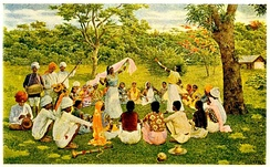 Asian Indians in the late nineteenth century singing and dancing in Trinidad and Tobago