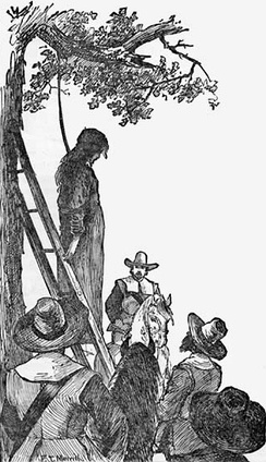 The gallows consisted of a ladder under a tree as in this portrayal of the execution of Ann Hibbins for witchcraft in 1656.