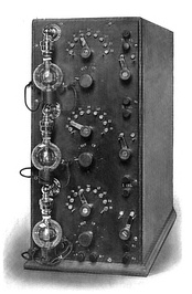 De Forest's prototype audio amplifier of 1914. The Audion (triode) vacuum tube had a voltage gain of about 5, providing a total gain of approximately 125 for this three-stage amplifier.