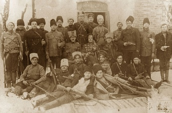 Black Army combat group, headed by Fedir Shchus (center)