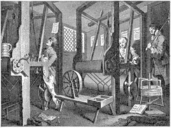 Handloom weaving in 1747, from William Hogarth's Industry and Idleness