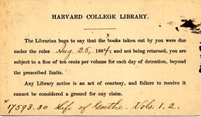 "Overdue notice, 1884. ""The Librarian begs to say ..."""