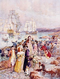 Depiction of the United Empire Loyalists arrival to New Brunswick. New Brunswick was partitioned from Nova Scotia in 1784, with Ste. Anne Point selected as its capital.