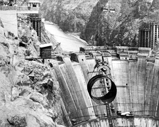 The Hoover Dam on the Arizona-California border was one of many large-scale water-power projects