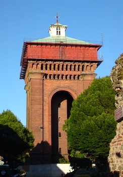 "The Balkerne Water Tower or ""Jumbo"", viewed from the Balkerne Gate."