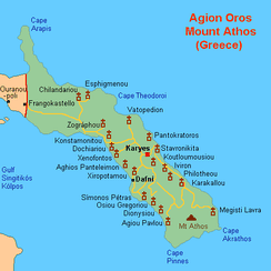 A map of Mount Athos