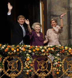 Princess Beatrix following her abdication with her son and successor and his wife
