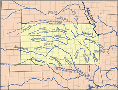 Map of principal rivers in Kansas