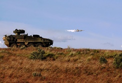 A U.S. Army M1134 Stryker ATGM carrier at the Yakima Training Center fires a TOW missile in May 2011.