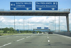 Regional destinations, on the M5 motorway with South Wales, the Midlands and London in capitals, although London is a not a regional destination, therefore should not be in capitals