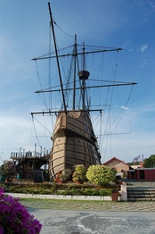 Replica of Flor de la Mar carrack housing the Maritime Museum of Malacca in Malaysia.