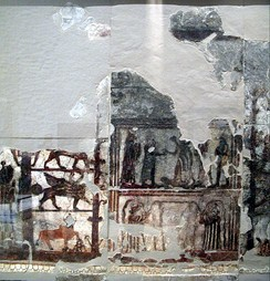 The 18th-century BC fresco of the Investiture of Zimrilim discovered at the Royal Palace of ancient Mari in Syria