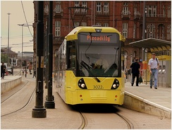 Metrolink in Manchester city centre, England, is an example of street-level light rail