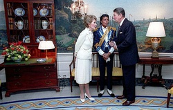 President Ronald Reagan and First Lady Nancy Reagan shortly before presenting Jackson with the award at the White House on May 14, 1984