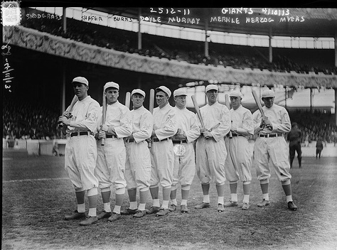 The Giants' opening day line-up at the Polo Grounds