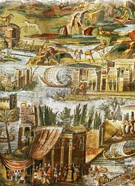 A detail of the Nile mosaic of Palestrina, showing Ptolemaic Egypt c. 100 BC