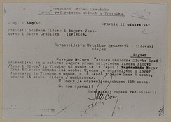 A report on the deportation of Travnik area Jews to Jasenovac and Stara Gradiška camps, March 1942