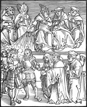 Antichristus,[11] a woodcut by Lucas Cranach the Elder, of the pope using the temporal power to grant authority to a ruler contributing generously to the Catholic Church